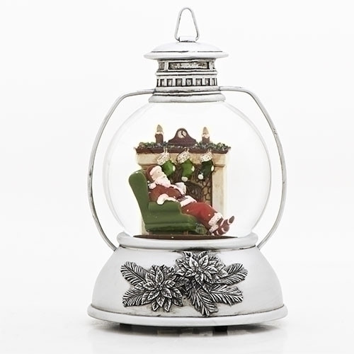 "Roman Inc. 8"" Santa By Fireplace Lantern Glitterdome"