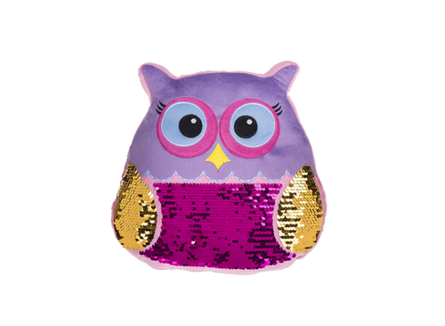 Ganz Owl Sequin Pillow - Purple