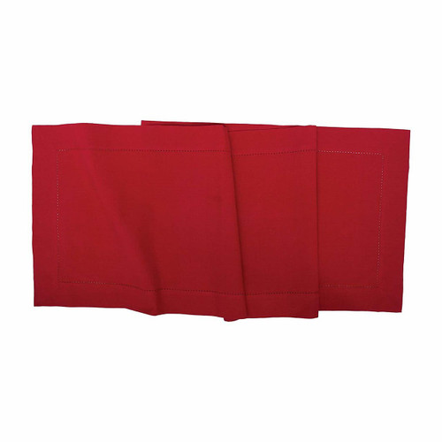 "C&F - 16"" x 72"" Quilted Table Runner, Hemstitch Crimson"