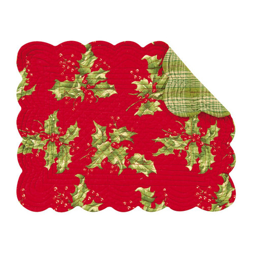 """C&F Enterprises 13"""" x 19"""" Holly Red Placemat, Set of 4"""