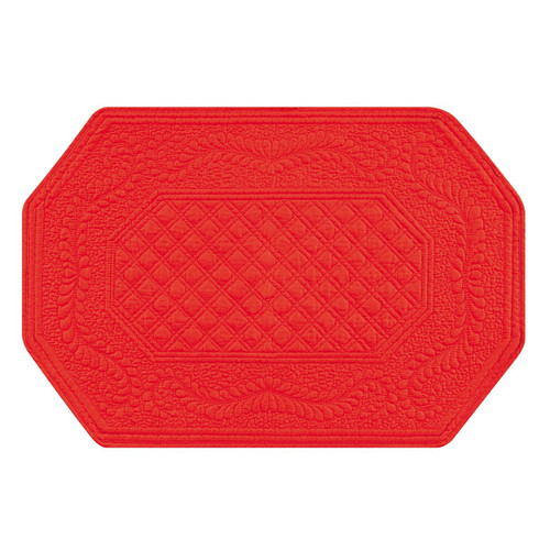 """C&F Home 13"""" x 19"""" Quilted Octagonal Red Placemat, Set of 4 (812621350)"""