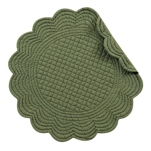 """C&F - 17"""" Round Quilted Pine Green Placemat, Set of 4"""