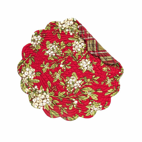 """C&F - 17"""" Round Quilted Mistletoe Leaves Placemat, Set of 4"""