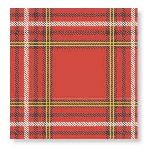 C.R. Gibson Paper Beverage Napkins, Plaid Forest
