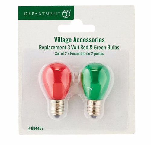 Department 56 Replacement 3 V Red & Green Bulbs