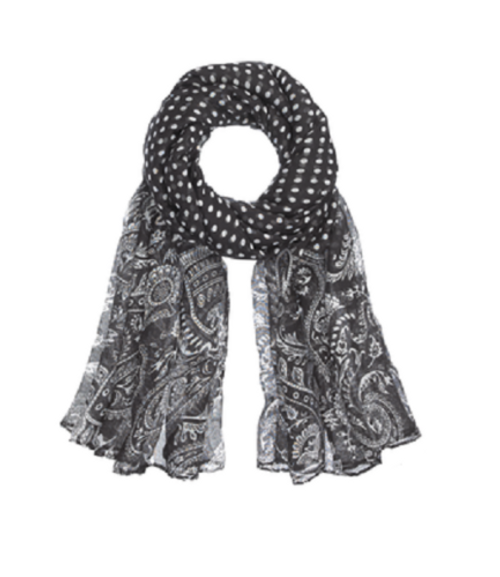 Ganz Black and White Scarf - Dots