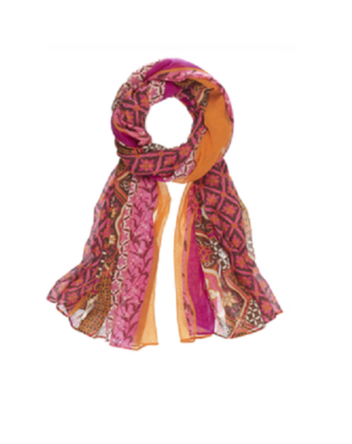 Ganz Geometric Scarf - Pink/Orange