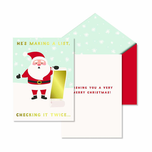 C.R. Gibson Scratch-Off Greeting Card, Santa's List