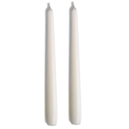 "Biedermann & Sons 12"" Taper Dinner Candles Pair, White"