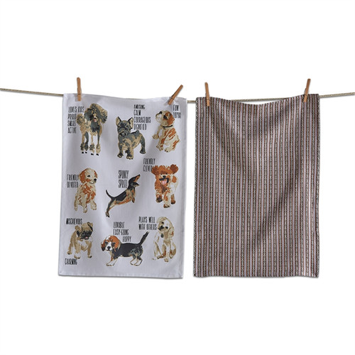 TAG - Friendly & Devoted Dogs Dish Towel, Set of 2 (208382)