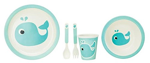 Boston Warehouse Lil'Bit Natural Bamboo Dinnerware, 5-Piece Set, Whale