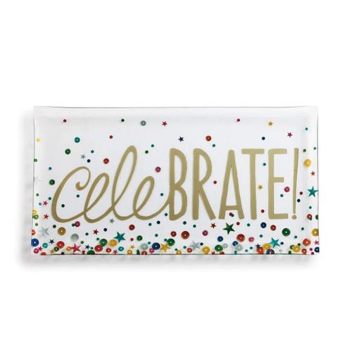 "Demdaco ""Celebrate"" Glass Platter"