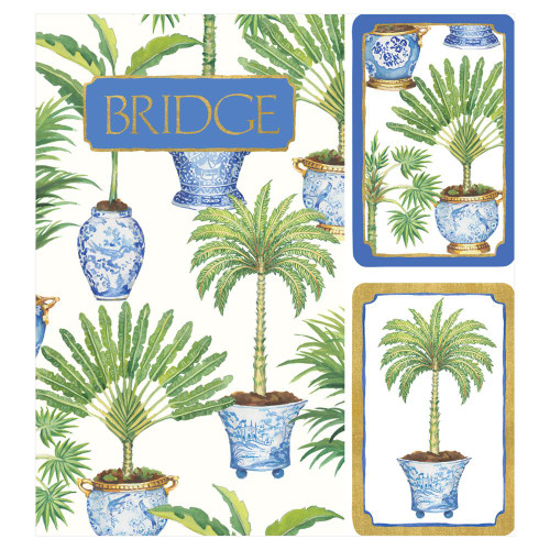 Caspari Bridge Gift Set, Potted Palms (GS134)