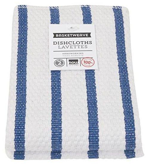 Now Designs Navy Stripe Basketweave Dishcloth, Set of 2