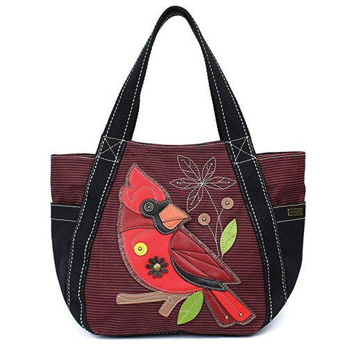 Chala Carry All Zip Tote, Cardinal, Burgundy Stripe