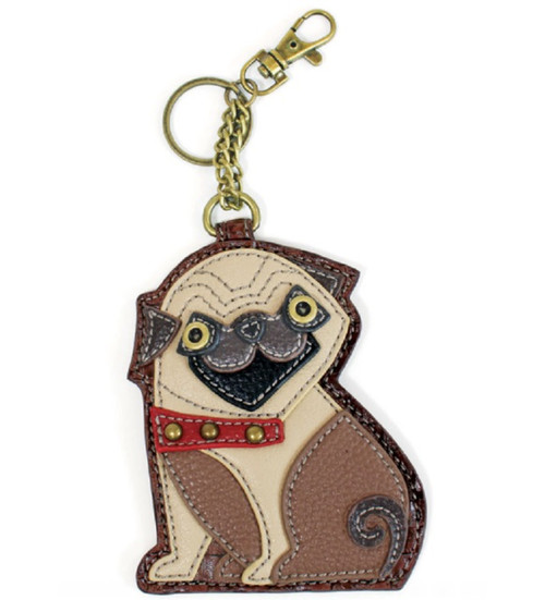 Chala Coin Purse/Key Fob, Pug Dog