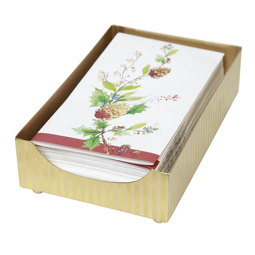 C.R. Gibson Tin Guest Towel Napkin Caddy, Gold