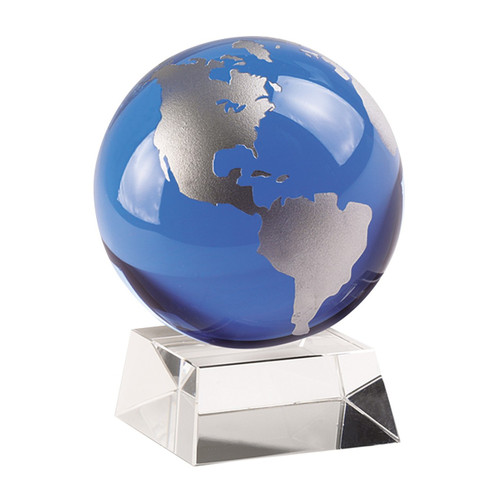 "Badash 4.5"" Cobalt Blue And Silver Globe On Crystal Base (SU360)"