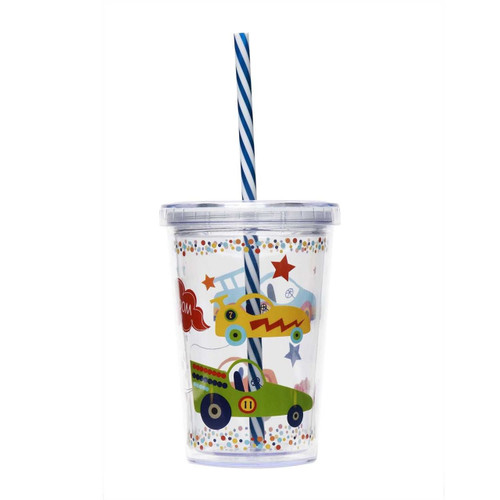 C.R. Gibson Kids' Insulated Tumbler, Zoom Zoom