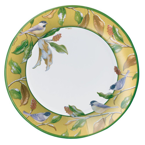 Caspari Round Paper Dinner Plates, Chickadee and Magnolia Gold (14830DP)