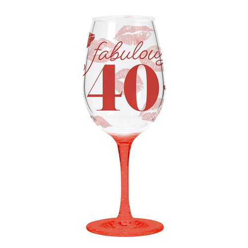 C.R. Gibson Acrylic Wine Glass, Fabulous 40