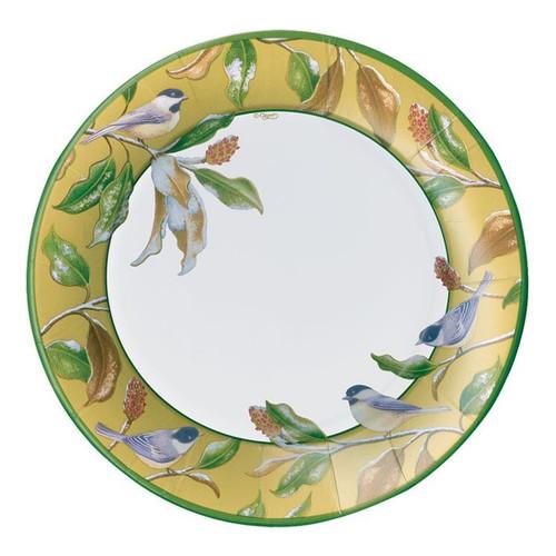 Caspari Round Paper Salad/Dessert Plates, Chickadee and Magnolia Gold (14830SP)