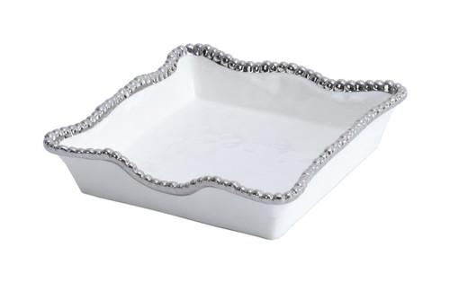 Pampa Bay Salerno Porcelain Luncheon Napkin Holder, White/Silver