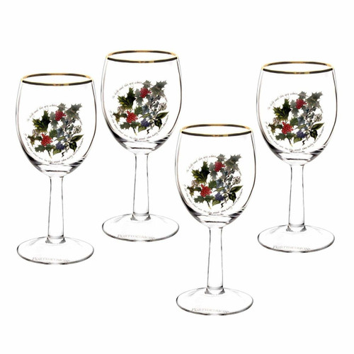 Portmeirion Holly & Ivy Wine Glasses, Set of 4