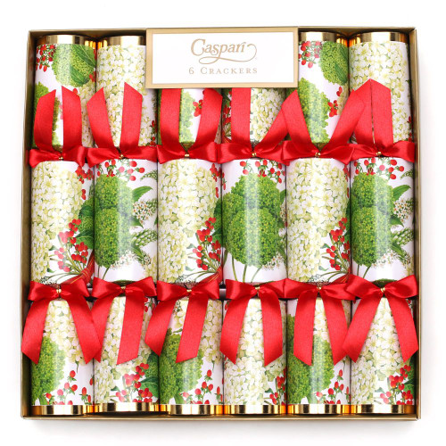 Caspari Celebration Christmas Crackers, Snowball Hydrangeas, Box of 6 (CK059.12)