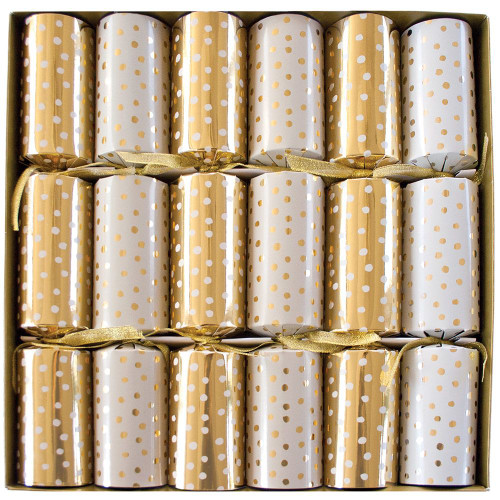 Caspari Celebration Crackers, Small Dots Gold, Box of 6 (CK027.12)