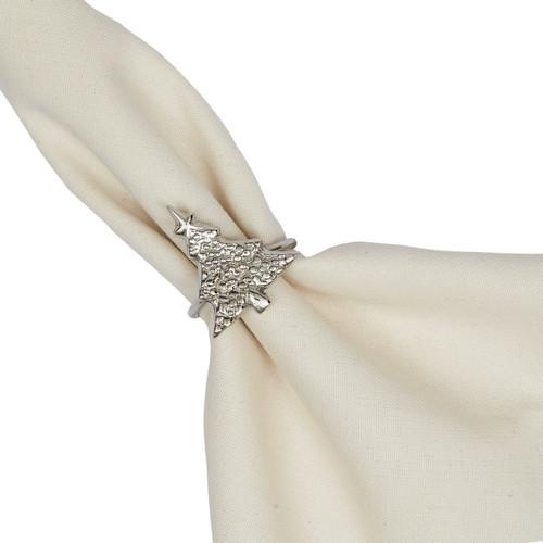 Design Imports Silver Christmas Tree Napkin Ring - Set of 4
