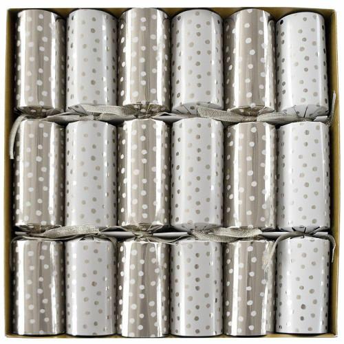 Caspari Celebration Crackers, Small Dots Silver, Box of 6 (CK028.12)