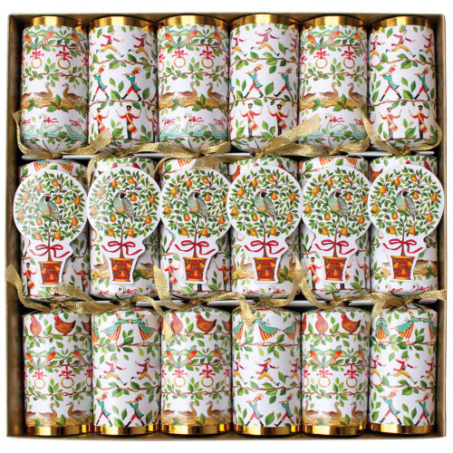Caspari Celebration Christmas Crackers, 12 Days of Christmas, Box of 6 (CK040.12)