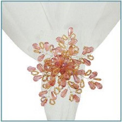 C&F Enterprises Gold/Garnet Beads Napkin Ring, Set of 4