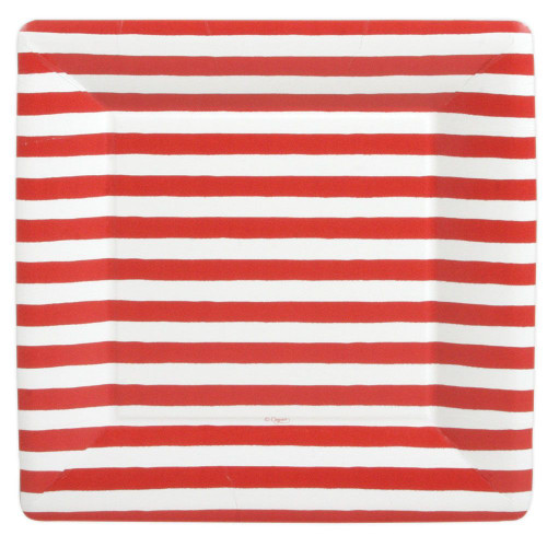 Caspari Square Paper Dinner Plates, Red and White Stripes (7920DP)