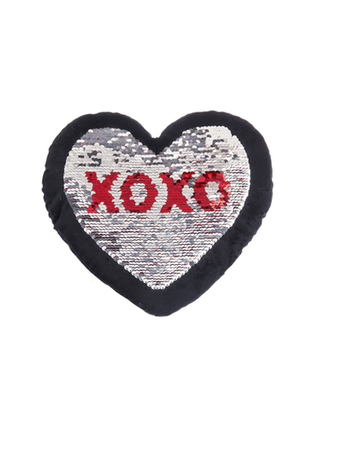 Ganz Heart Sequin Pillow, Black With Red