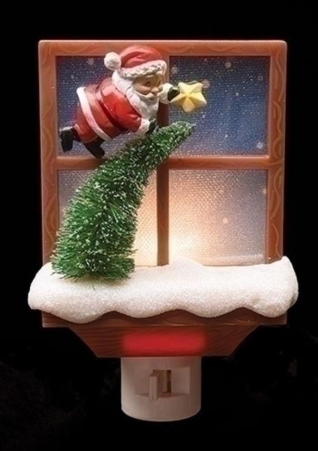 "Roman 6"" Window Nightlight with Tree and Santa"