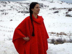Red Alpaca Cape with Scarf