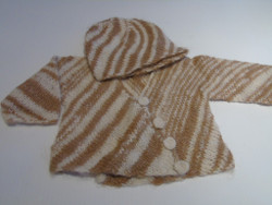 Babies Organic button up top. 100% Alpaca  Hand spun and hand knitted