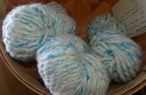 Alpaca (Huacaya/Suri) Lopi Yarn Sky Blue Clouds with Silk Noils