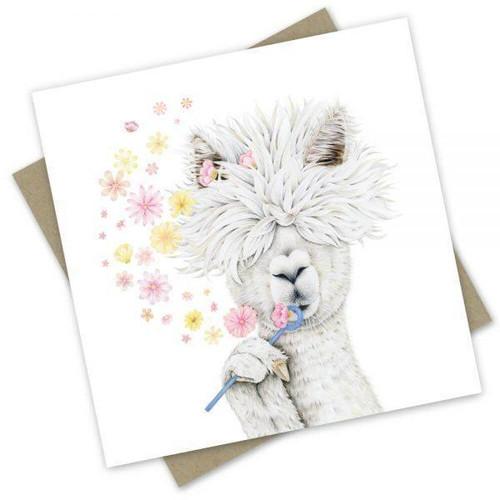 'Lady Alpaca' Greeting Card