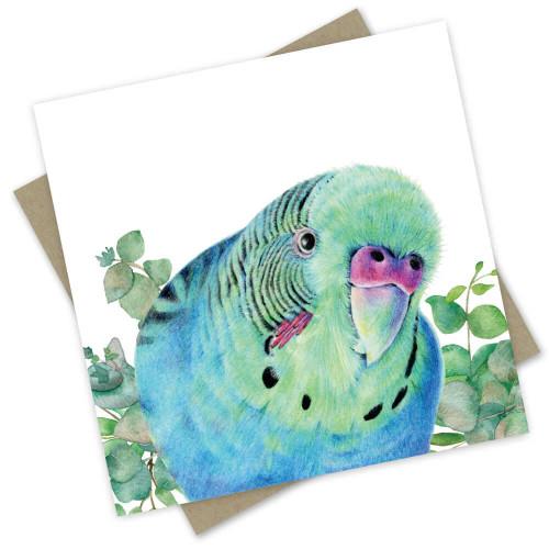 'Birrani' The Ice Blue Male Parakeet Greeting Card