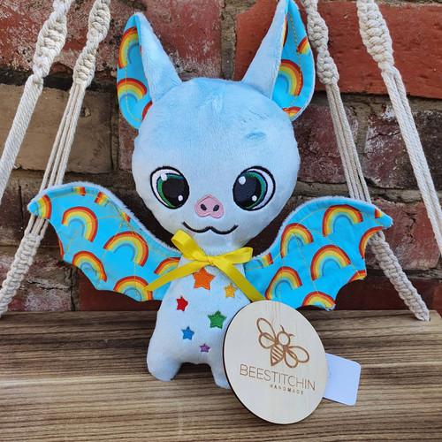 Blue Rainbow Plush Bat