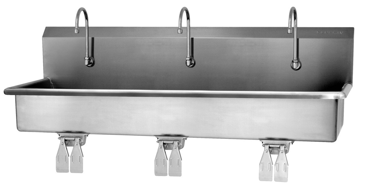 SANI-LAV 56WSL 3-Person Wash Station - Stainless Steel - Wall Mount