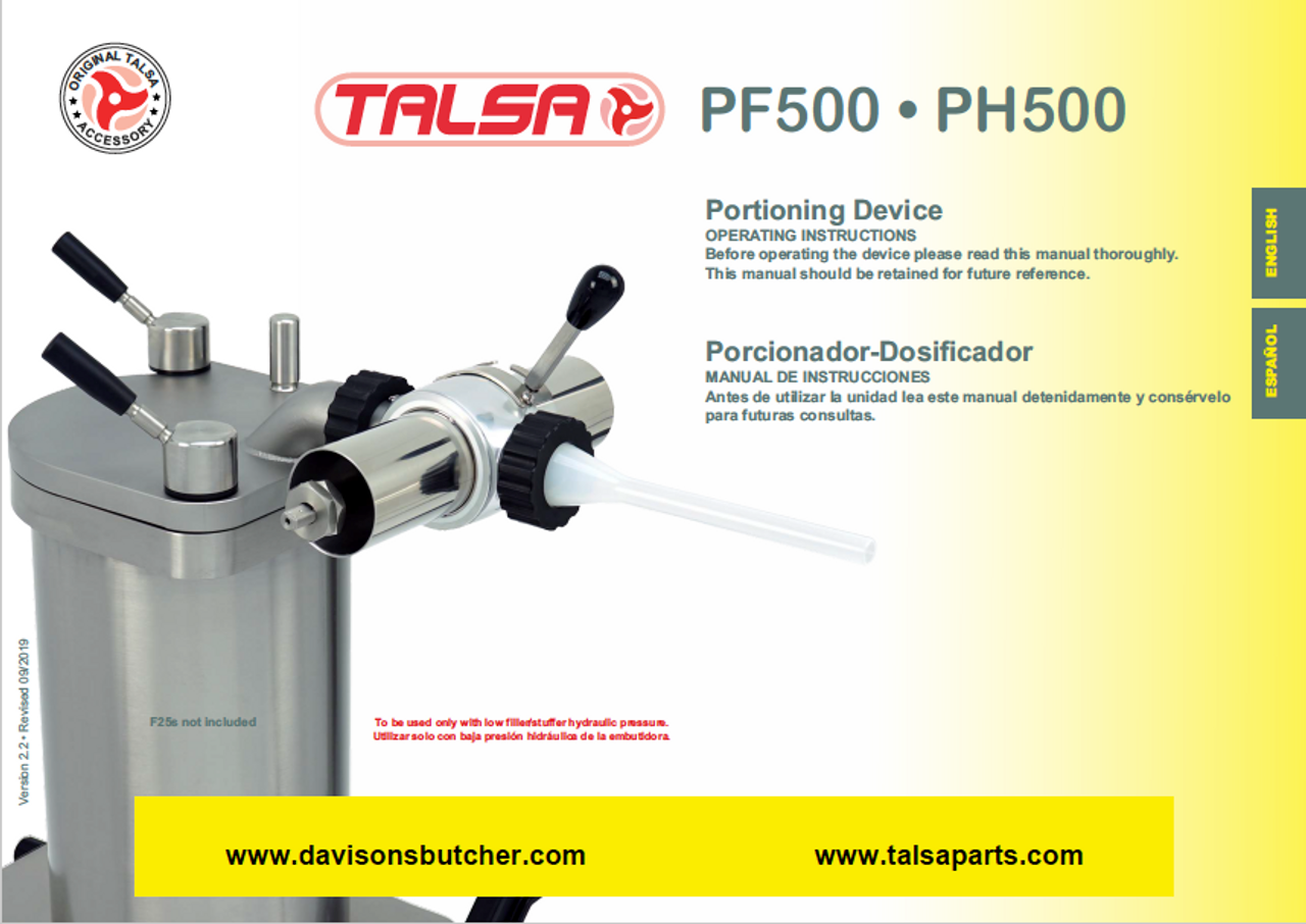Talsa Sausage Stuffer Portioner PH500 & PF500 Parts List