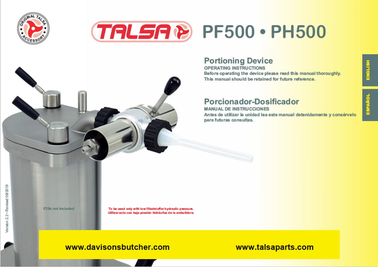 Talsa Sausage Stuffer Portioner PH500 & PF500 Parts List