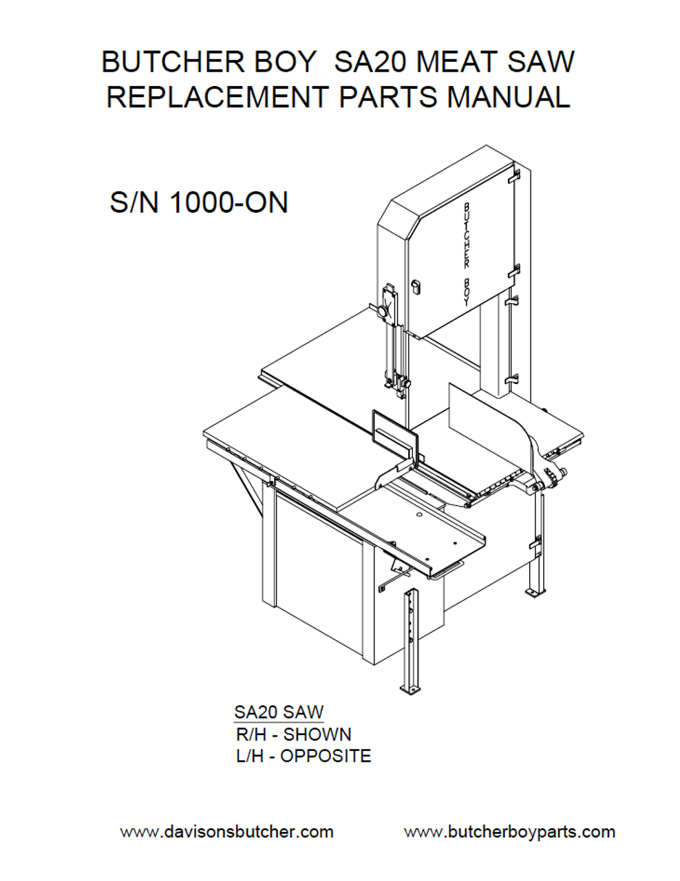 Butcher Boy SA20 - Meat Bandsaw Parts List
