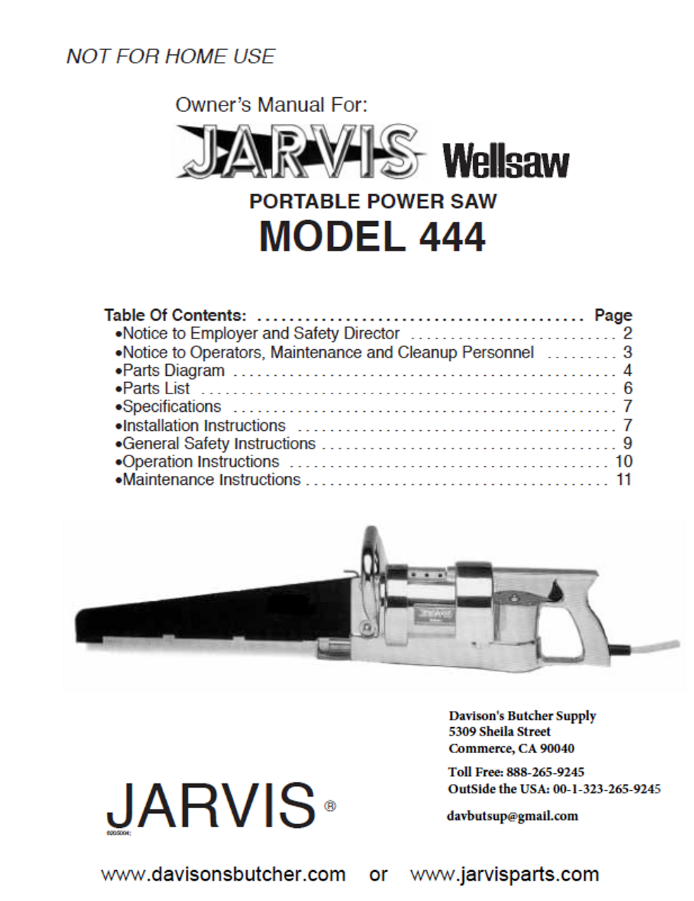 Jarvis Wellsaw Model 444 Parts List