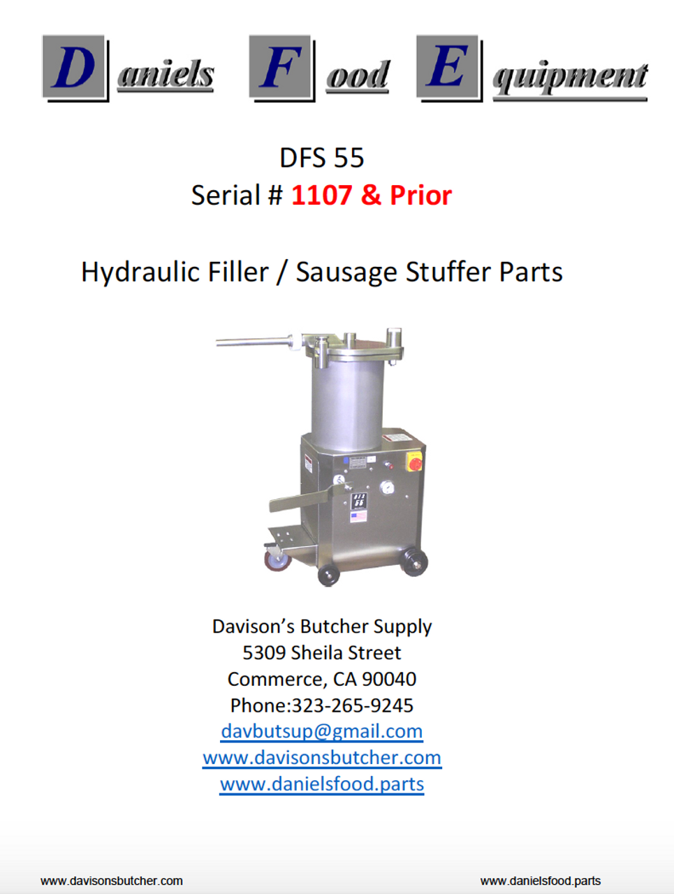 Daniels Food DFS 55 Sausage Stuffer / Filler  Parts - Parts List - Serial #1107 & Prior