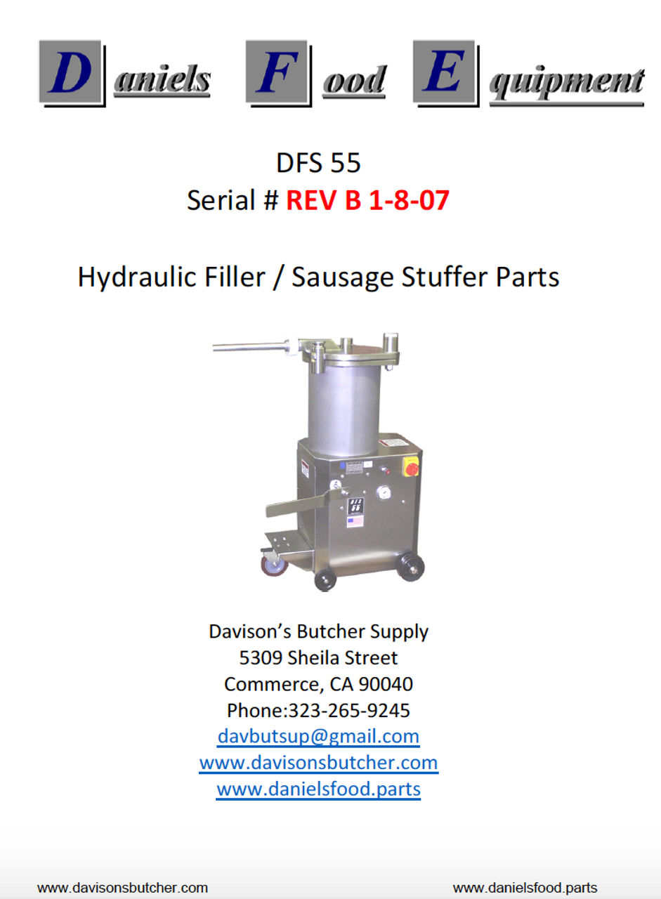 Daniels Food DFS 55 Sausage Stuffer / Filler  Parts - Parts List - REV B 1-18-07